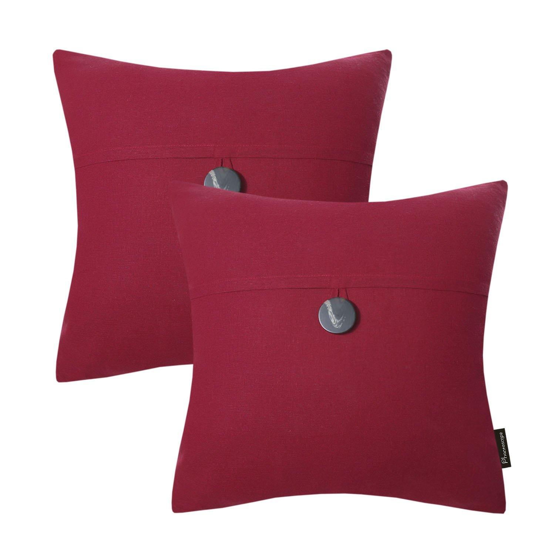 PHANTOSCOPE Decorative Green Button Linen Serious Throw Pillow Case Cushion Cover 18 x 18 inch 45 x 45 cm 18