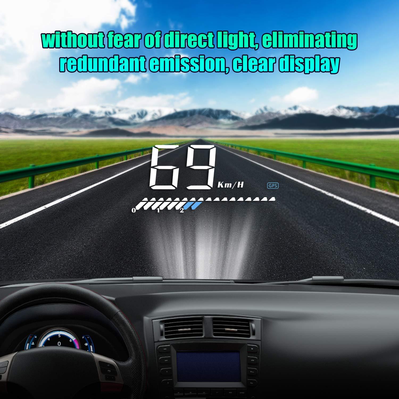 BLESYS OBD2 GPS Sistema Dual HUD Heads Up Display Auto Speed Igual Que el veloc/ímetro Aplicar a Todos los Autos Incluye h/íbridos Soporte para Autos 4 Modos de visualizaci/ón