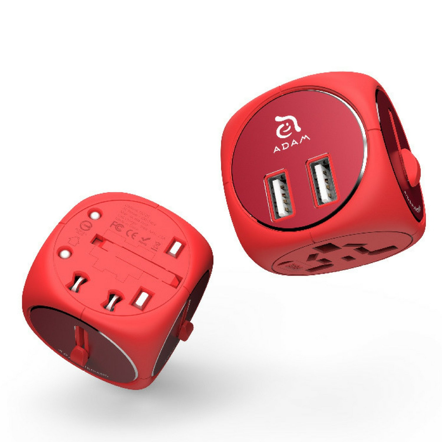 Adapter Converter for International Travel - Plug in Outlet for Power - Universal Dual USB Charger - Charge Cell Phone in Europe, USA, UK, AU & More - Omnia TA502 Red