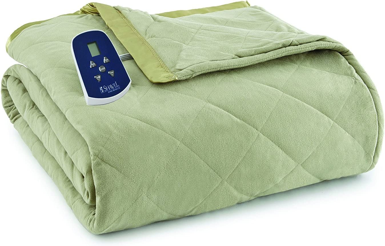 Thermee Micro Flannel Electric Blanket, Sage, Full