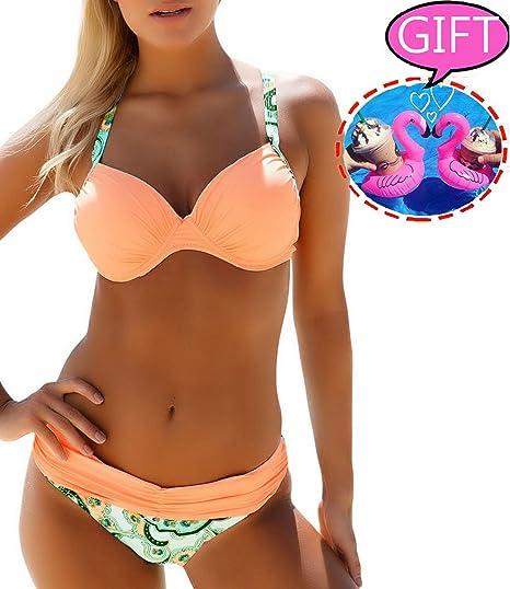 611d09a47d1 Womens Bikini Swimsuit Two Piece Bathing Suits Sexy Padded Push Up Bikini  Set Halter Swimwear