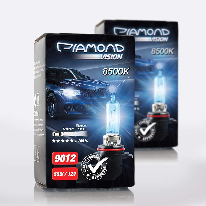 2x 9012 Hir2 12v 55w Diamond Vision Xenon Look Effekt Halogen Kfz Lampen Birnen Licht Optik Super Ultra White 8500k Abblendlicht Fernlicht Mehr Licht Kaltweiss Weißes Licht Weiß Px22d Duobox Auto