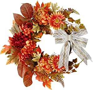 FUNARTY 17.7 Inches Fall Wreath Autumn Daisy Wreath for Harvest Season Thanksgiving Party Wedding Halloween Festival Décor