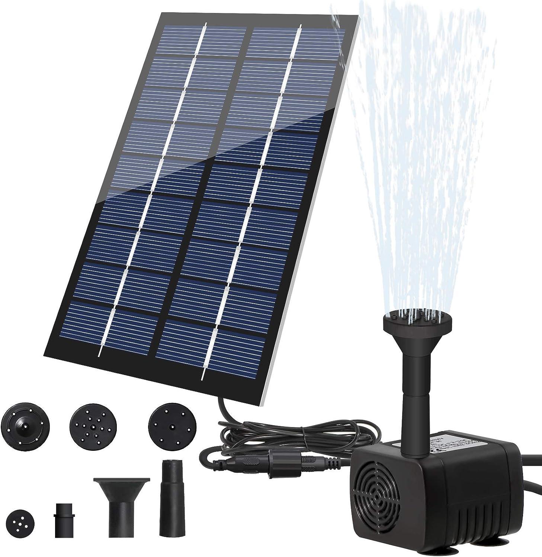 Solar Fountain Pump Kit, LEDGLE 1.8W Submersible Water Pump with 7 Nozzles, Solar Bird Bath Fountain Pump Outdoor for Pond, Pool, Garden, Yard