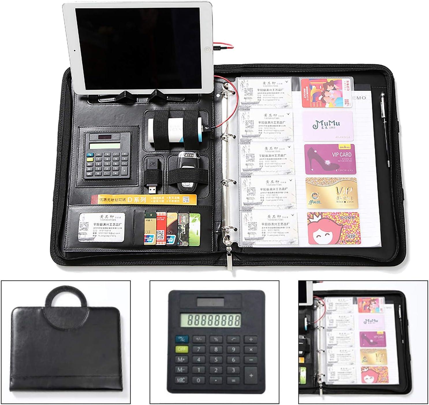 A4 mit Rei/ßverschluss Taschenrechner und Notizbuch Schwarz A4 Schreibblock Konferenzmappe mit Ringbuch Powerbank Leder Kartenhalter