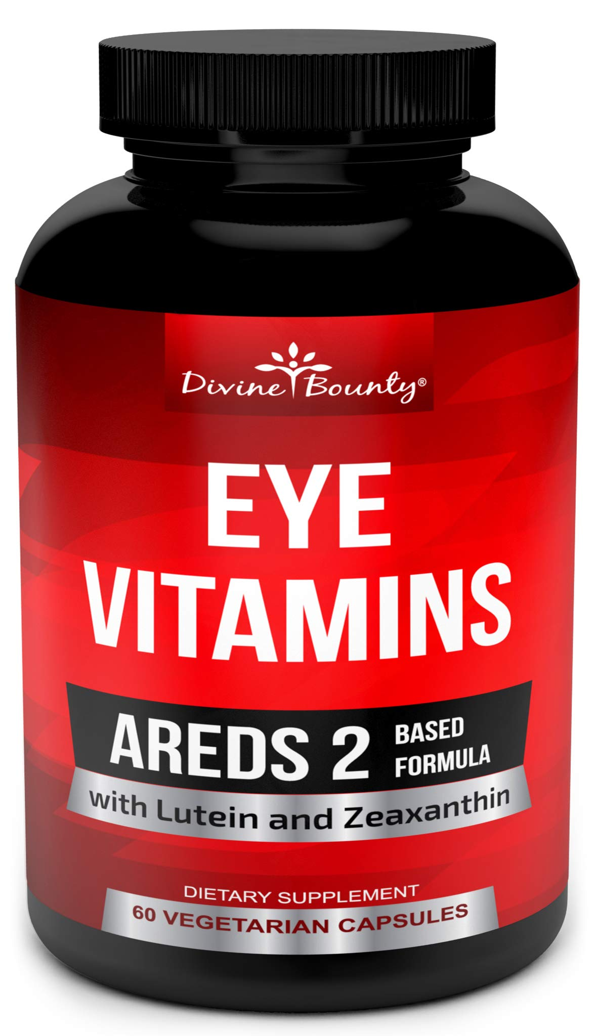 AREDS 2 Eye Vitamins with Lutein and Zeaxanthin Supplements - Clinically Proven for Macular Degeneration, Eye Care, Eye Health - Areds2 Formula for Adults - 60 Vegetarian Capsules by Divine Bounty