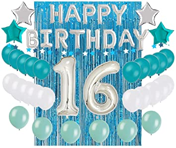 Sweet 16 Sixteenth 16th Birthday Decorations Turquoise Blue Party Balloons  Supplies 32