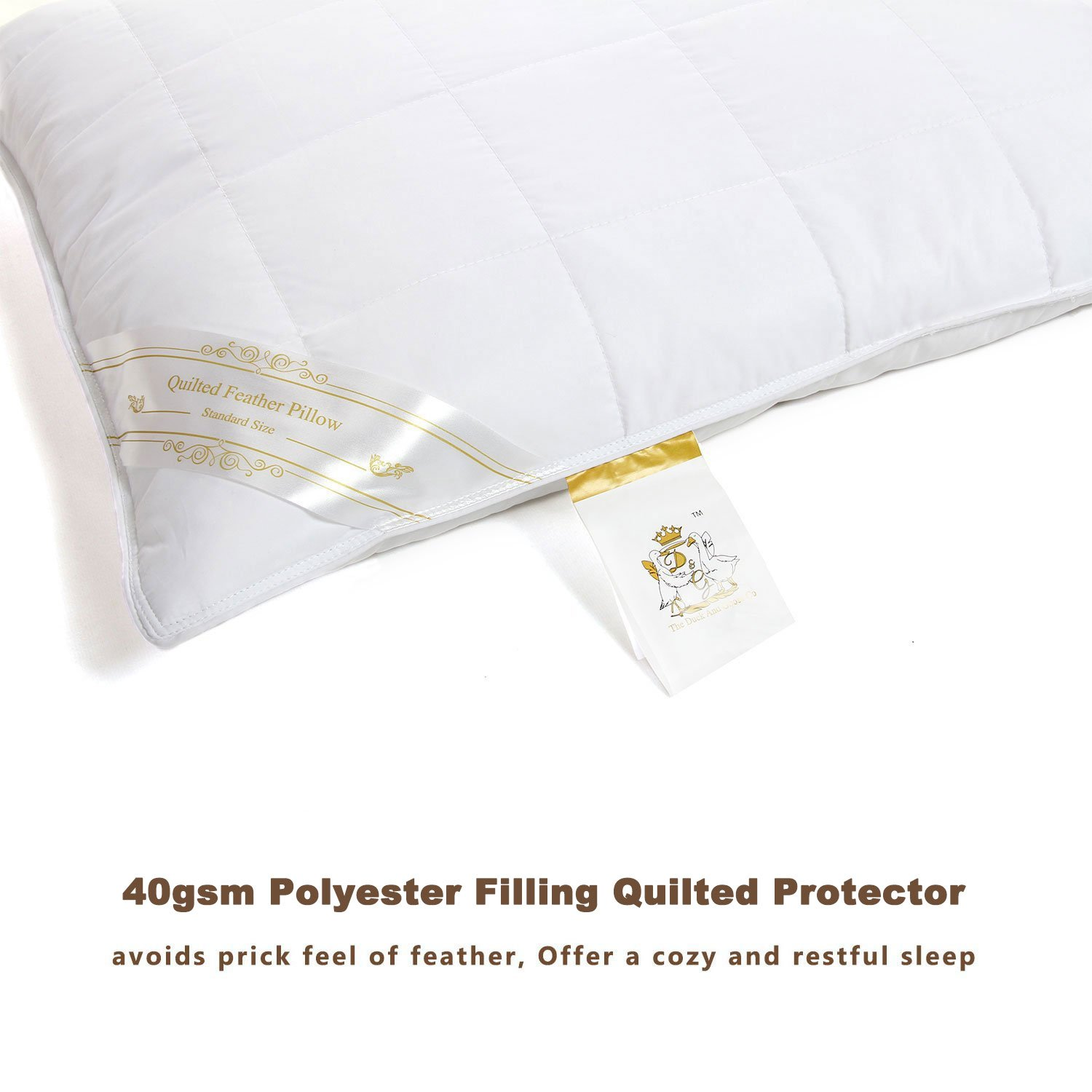 amazon com quilted feather pillow 100gsm down proof triple layers