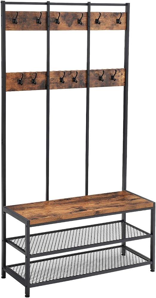 15 Hooks Rustic Cast Iron Entry Way Industrial U-SHAPE Look Towel Bath Coat Hat Bathroom Closet Hall Tree Restoration Tack Dog Leash Cup