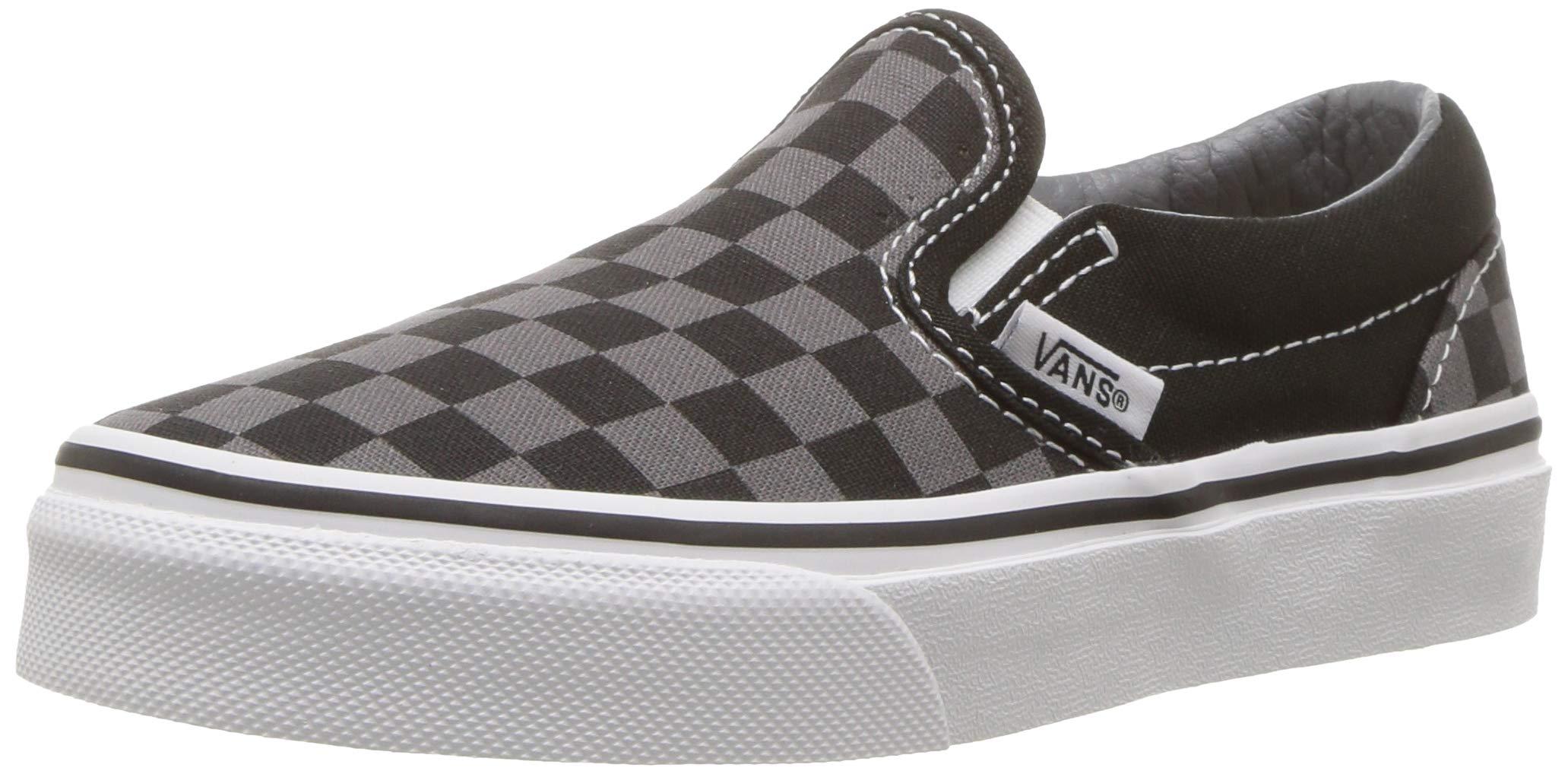 Vans Kids Classic Slip-On (Little Big Kid), ((Checkerboard) Black/Pewter 1 M