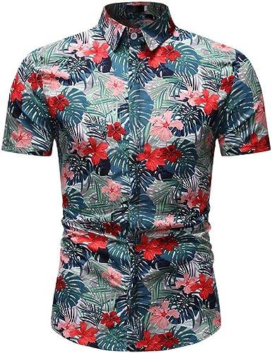 VJGOAL Camisa Hawaiana de los Hombres de Moda con Estampado Floral clásico botón de la Solapa Camiseta de Verano Informal Blusa de Manga Corta Tops: Amazon.es: Ropa y accesorios