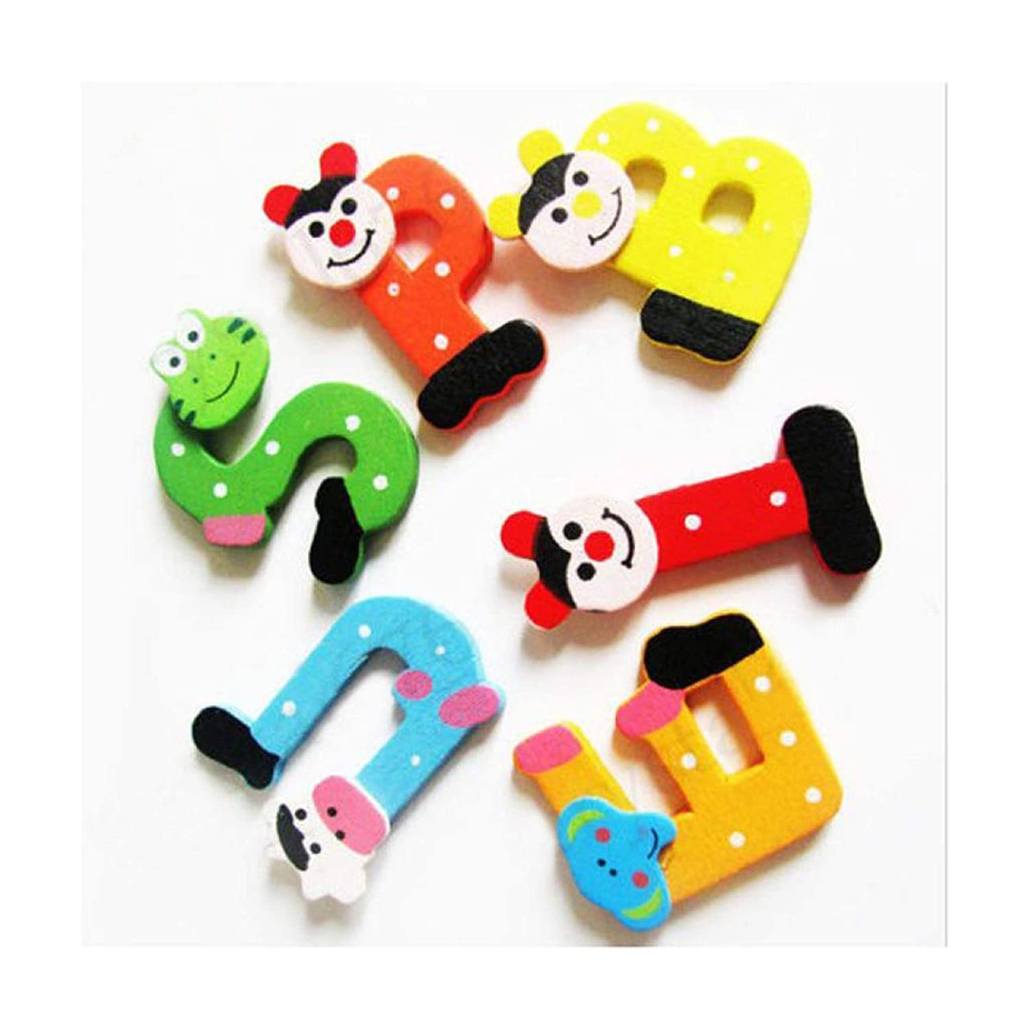 Happy event 26pcs Wooden Cartoon Alphabet A-Z Magnets Child Educational Toy