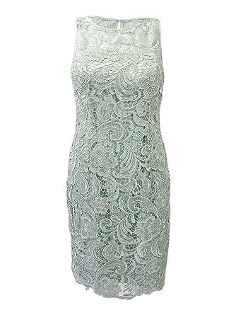 e73e934da1 Amazon.com  Adrianna Papell Women s Illusion Neckline Lace Dress ...