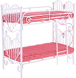 Baoblaze 1:12 Scale Miniature Plaid Metal Bunk Bed Furniture for Dollhouse Bedroom, Kids Birthday Gifts