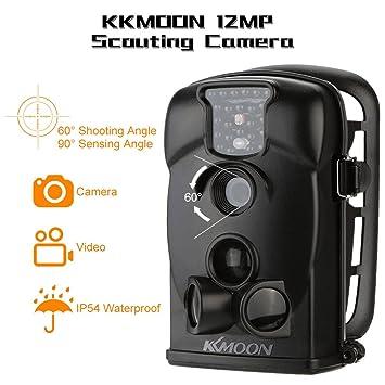KKMOON 12MP 720P HD 940nm IR Cámara Impermeable de Seguridad Juego 2.4inch Pantalla LED Explorador de Rastro para la Caza, Color Negro