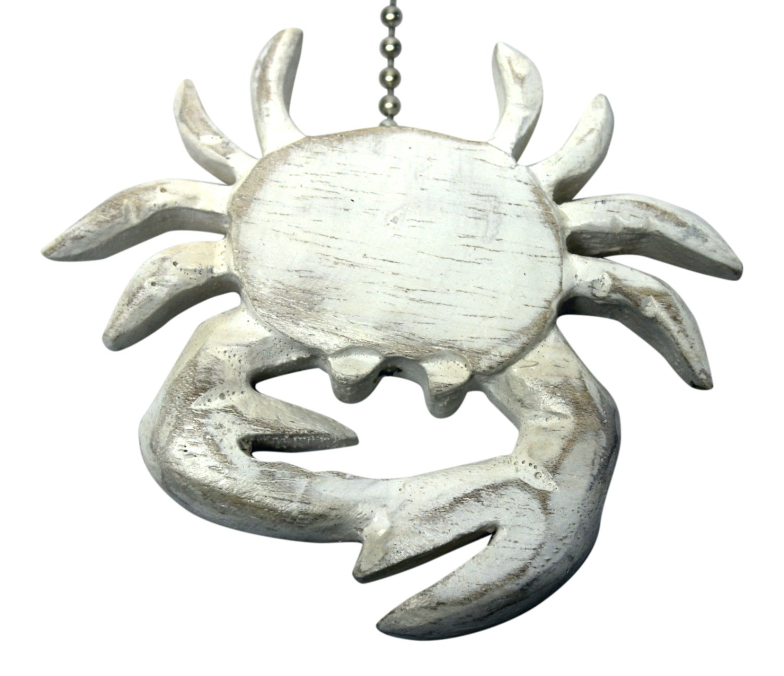 MTI Whitewashed Coastal Crab Hand Carved Wood Ceiling Fan Light Pull