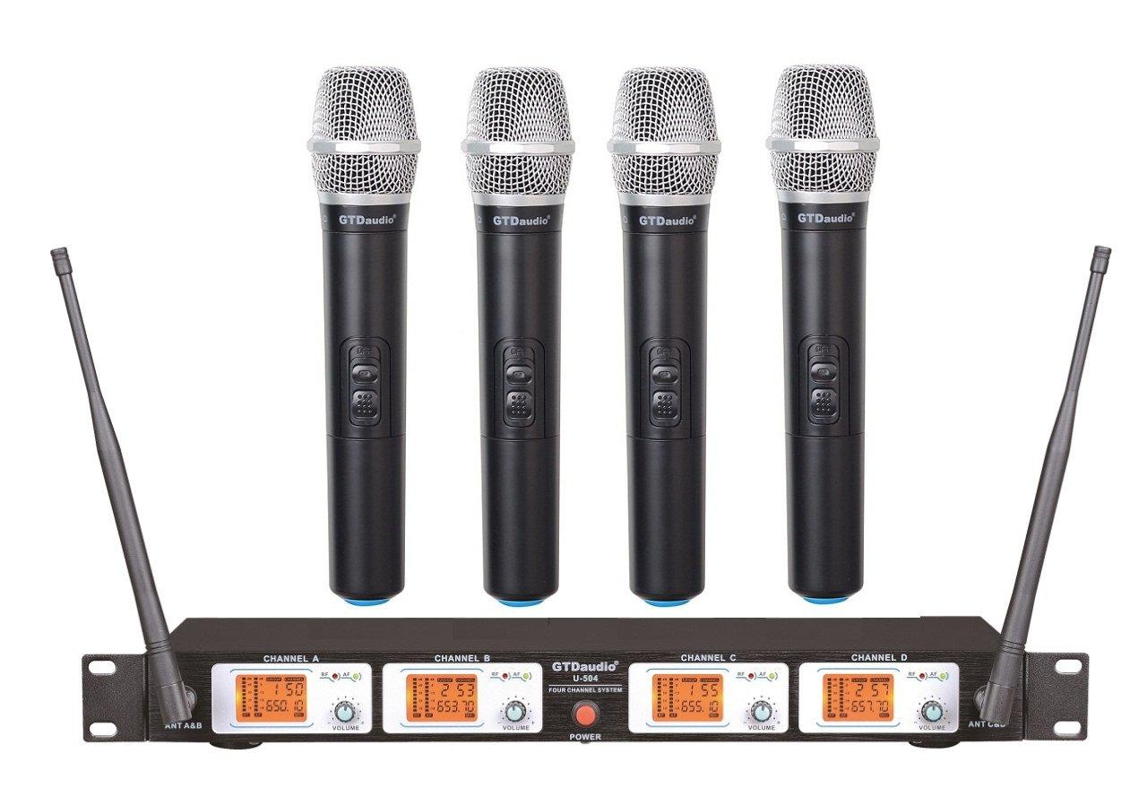 GTD Audio U-504H UHF Wireless Microphone System with 4 Hand held mics