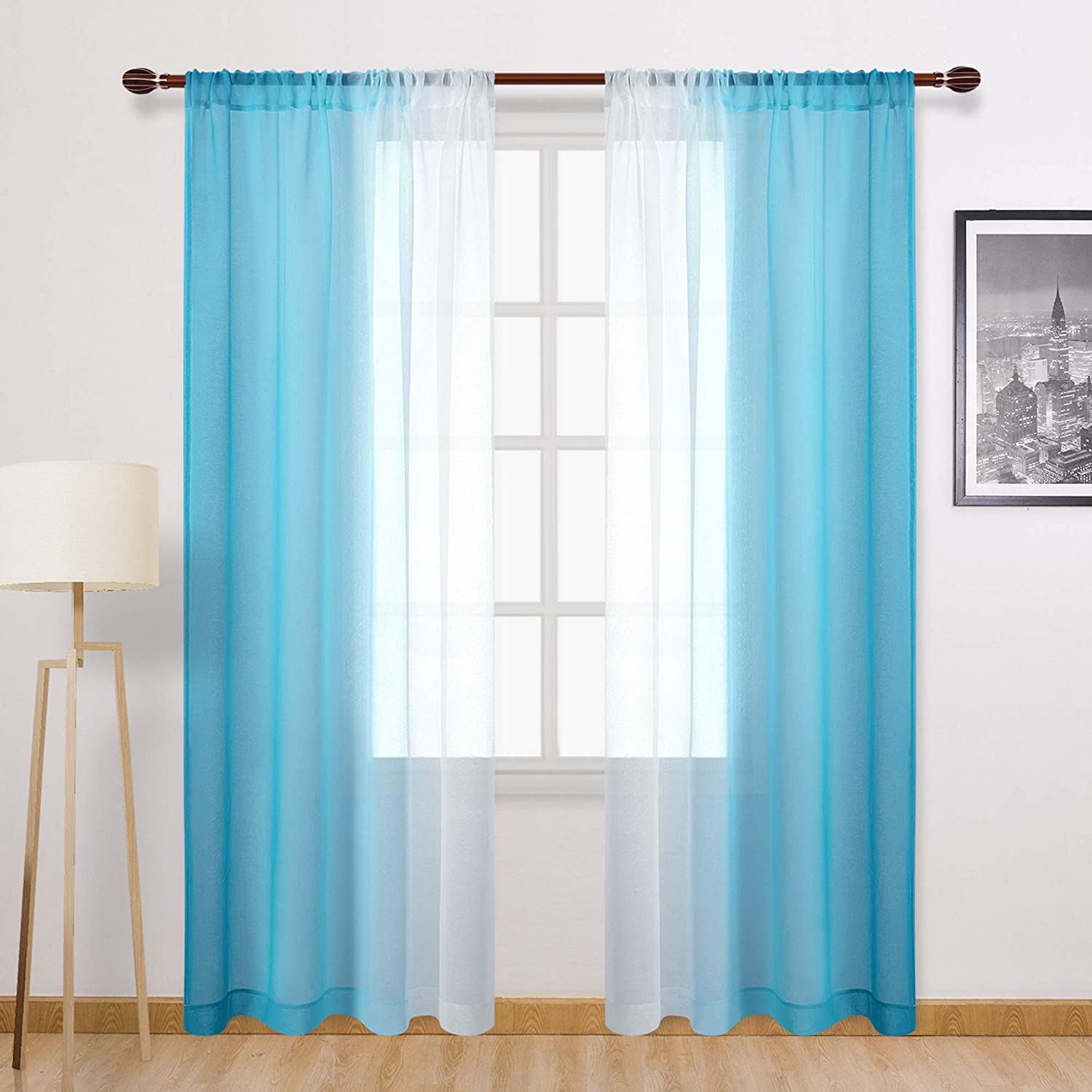 DWCN Ombre Sheer Curtains - Faux Linen Semi Voile Rod Pocket Gradient Curtains for Bedroom and Living Room, Set of 2 Window Curtain Panels, 52 x 84 Inches Long, Sky Blue