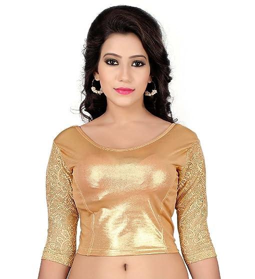 Dancing Girl Readymade Blouse Net Sarees Indian Saree Golden Stitched Blouse Lycra K26 Golden