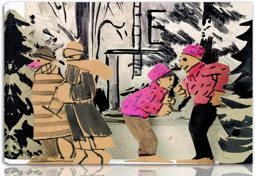 Berkin Arts Joaquin Torres Garcia Stretched Giclee Print On Canvas-Famous Paintings Fine Art Poster-Reproduction Wall Decor Ready to Hang(Ice Skaters)#NK