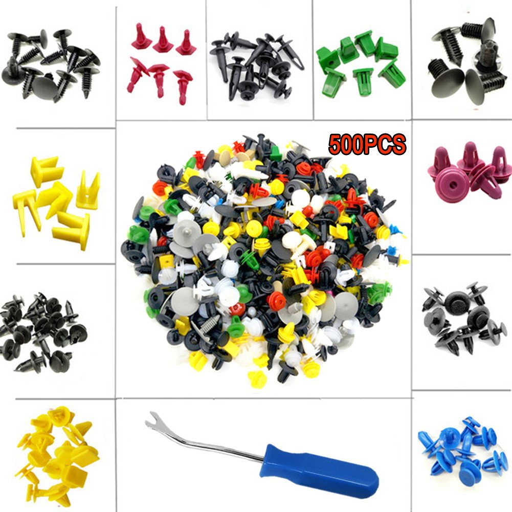 CNIKESIN 500PCS Car Mixed Universal Car Trim Nylon Fender Clips Body Plastic Rivets with Fasteners Tools Auto Bumper Rivet Retainer Push Engine Cover Fender Fastener Clip