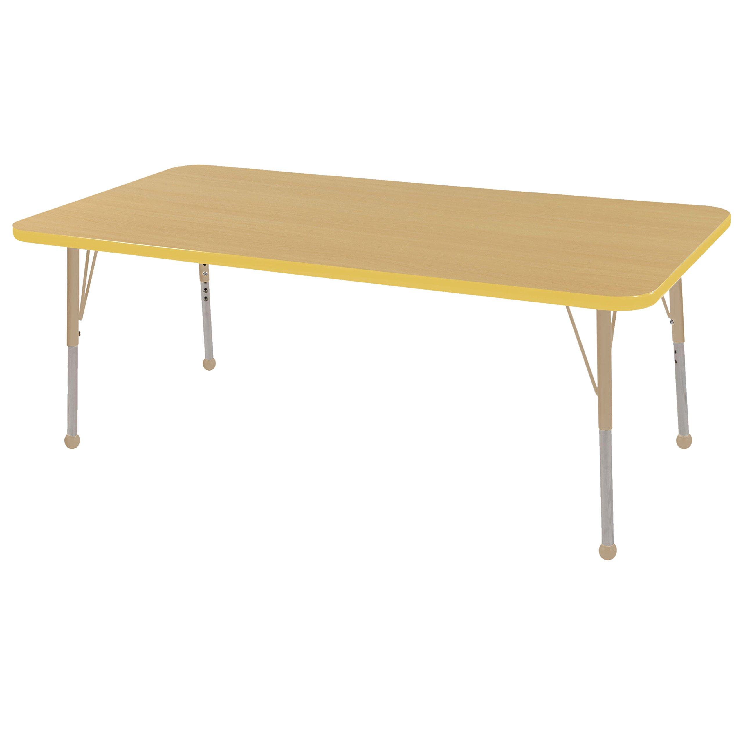 ECR4Kids Mesa T-Mold 30'' x 48'' Rectangular School Activity Table, Toddler Legs w/ Ball Glides, Adjustable Height 15-23 inch (Maple/Yellow/Sand)