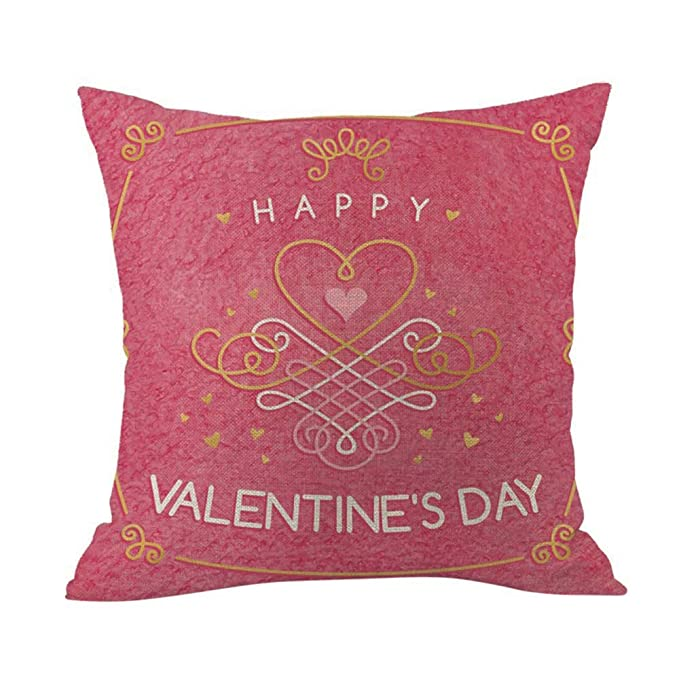 Amazon.com: Throw Pillow Cover, DaySeventh Happy Valentine Pillow Cases Cotton Linen Sofa Cushion Cover Home Decor 18x18 Inch 45x45 cm: Home & Kitchen
