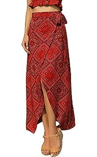 2211549df1 RUIGO Women's High-Waisted Boho Asymmetrical Hem Tie up Long Maxi Print  Wrap Skirt
