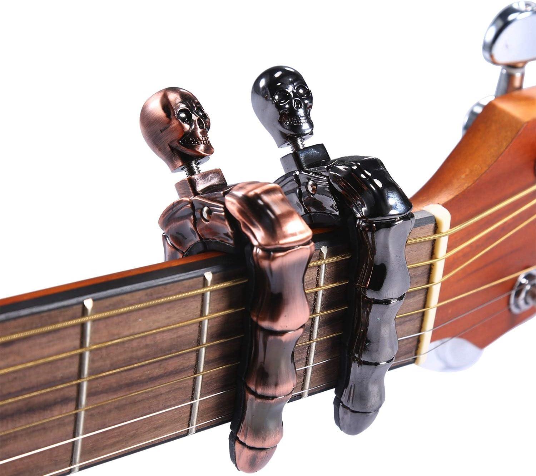 Asmuse Cejilla Guitarra Española Electricas Clásica Electrica Acustica Clasica Folk Ukelele Bajo instrumento guitar Skeleton Capo Ligero Aleación de Aluminio con 6 selecciones guitarra-2 piezas: Amazon.es: Instrumentos musicales