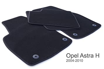 Opel - Alfombras Astra H (Calidad Original, Terciopelo 800g/m², 4 Piezas), Color Negro