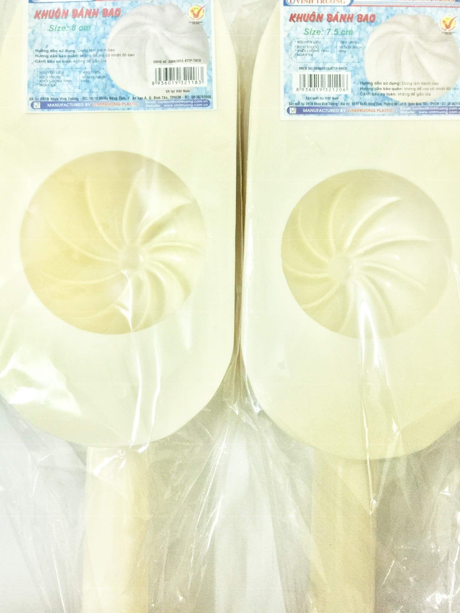 2 pcs x Large Steamed Bun Mold, Khuon Banh Bao (1 size 7,5 cm and 1 size 8 cm)