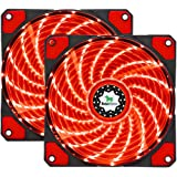 Asiahorse FIREWORK Reinforced Hydraulic Bearing 120mm DC 15 Leds Cooling Case Fan for PC Computer,Quiet Edition CPU Cooler Twin pack(RED)