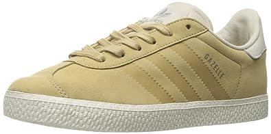 the best attitude bb8fe de179 adidas Originals Boys Gazelle Fashion J Sneaker Linen Khaki Bliss Chalk 4  M US Big