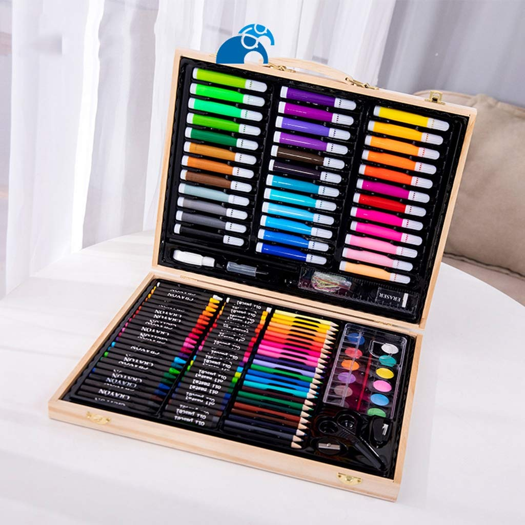 Zywtrade 150 Pieces Wooden Box Painting Gift Watercolor Pen Crayon Oil Pastel Paintbrush Set Children Art Painting Tools by Zywtrade (Image #3)