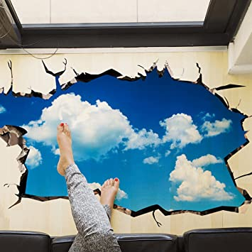 Iwallsticker Removable 3D Blue Sky White Clouds Wall Stickers Ceiling Floor  Tile Decals For Kids Room