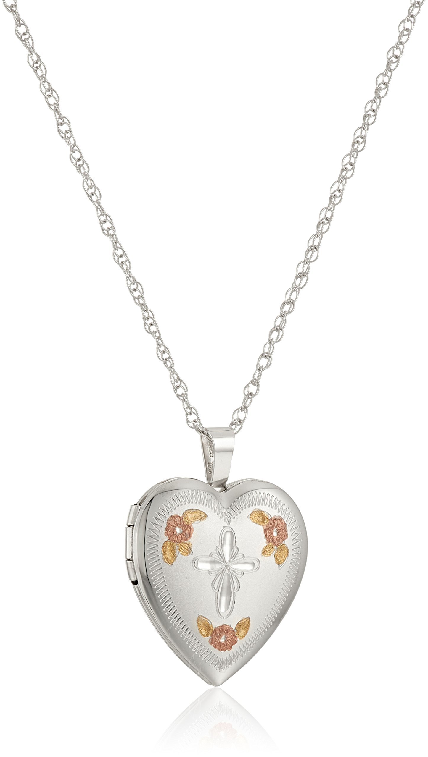 Sterling Silver Hand Engraved Cross Heart with Tri-Color Locket Necklace, 18''