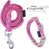 ThinkPet Dog Collar and Lead Set, Puppy Lead and Collar Adjustable for Small medium Dogs, Easy Control, Durable Colorful Strong