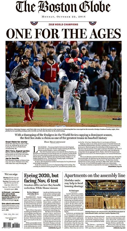 dafd198fc04 10 29 18 BOSTON RED SOX WIN WORLD SERIES- BOSTON GLOBE NEWSPAPER at ...