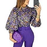 MISOMEE Women Fashion Mock Neck Lantern Sleeve Sequins Colorblock Insert Blouse