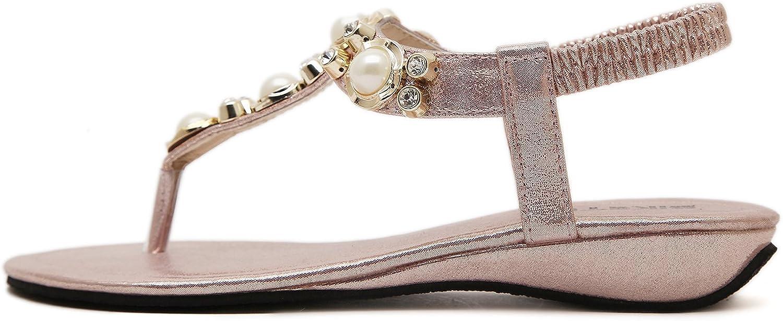 DQQ Women's Beaded Ankls Strap Thong Sandal 4