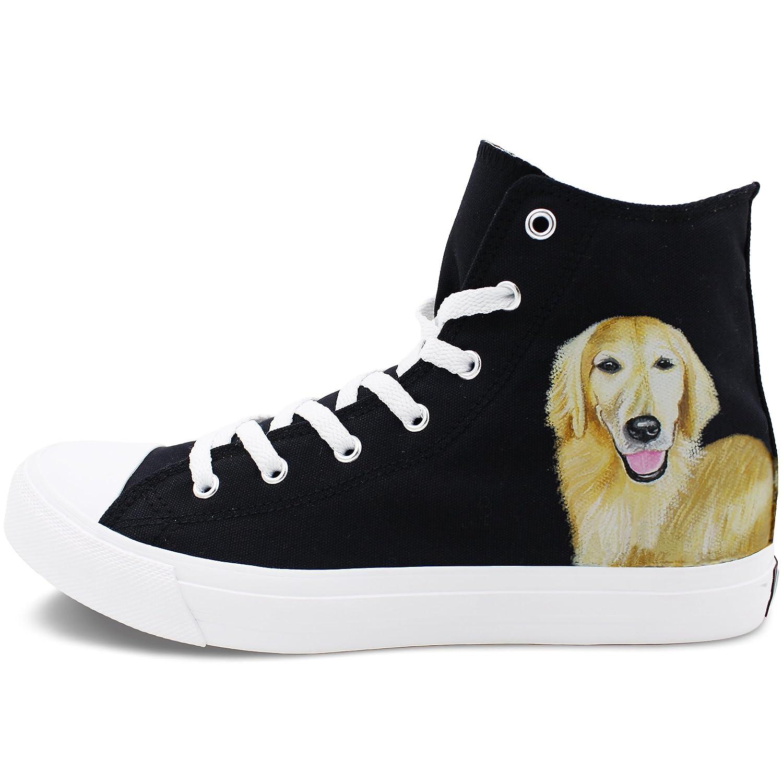 Wen Fire Design Golden Retriever Pet Dog Hand Painted Canvas Sneakers Unisex