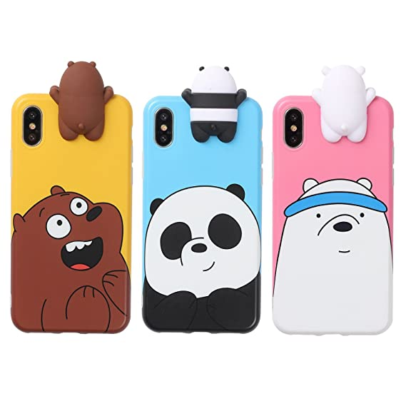 san francisco 295fc f2345 Aikeduo for 3D Cartoon Animals Cute We Bare Bears Soft Silicone Case Cover  Skin 3pcs Sell for iPhone6/ 6s/6s Plus iPhone7 /7plus case (iPhone X/XS)