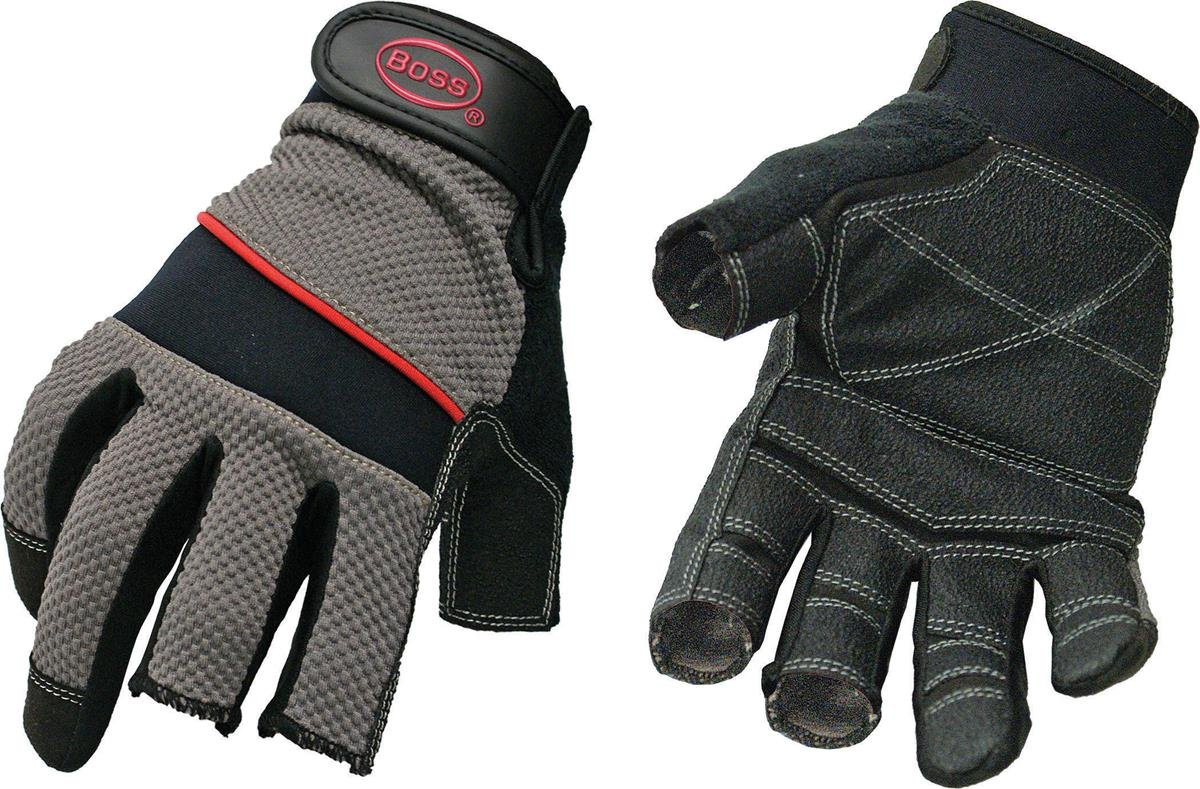 Boss Gloves 5201L The Carpenter Glove, Three Open Finger Tips, Large