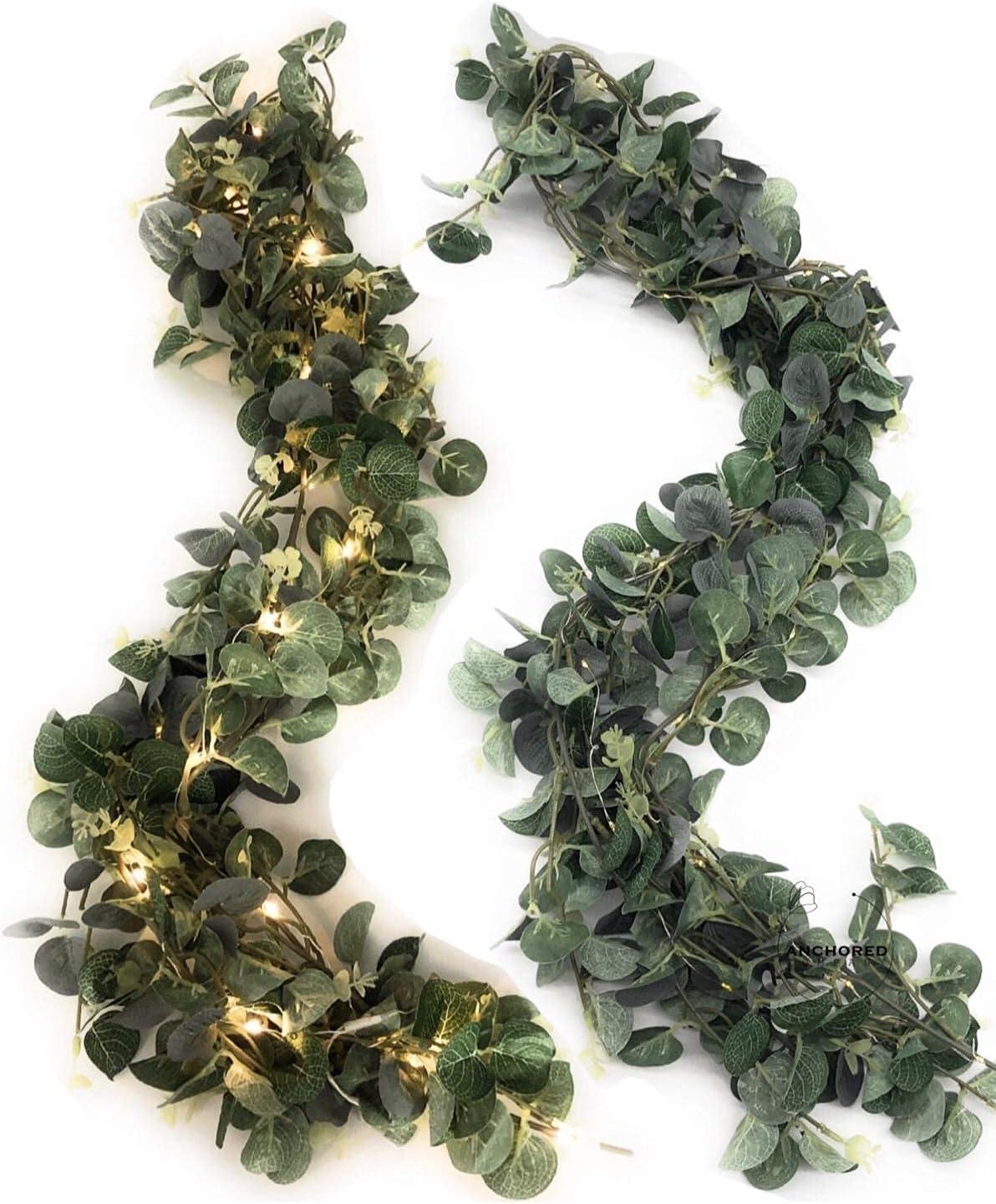 EKKONG Eukalyptus Girlande K/ünstlich Pflanze Eukalyptus Bl/ätter Deko Girlande Hochzeit Eukalyptus KranzEukalyptus K/ünstlich H/ängen Reben Bl/ätter Urlaub Hochzeit