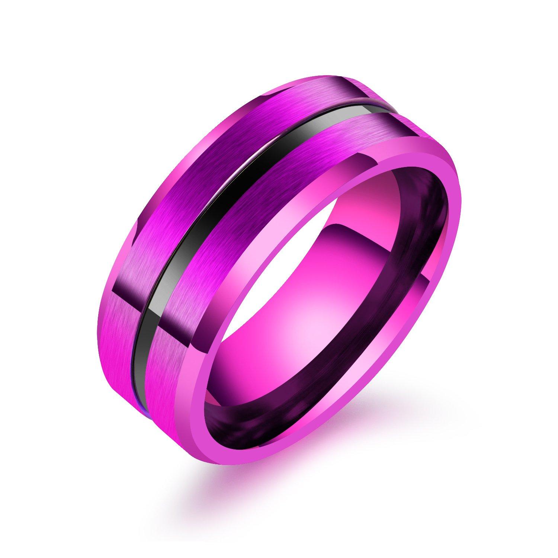 UOKOHO 8mm Mens Wedding Band Ring Matte Finish Beveled Polished Edge ...