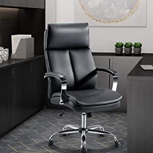 High Back Office Chair, Tribesigns Adjustable Ergonomic Desk Chair with Padded Armrests, Executive PU Leather Swivel Task Chair with Lumbar Support (Black)