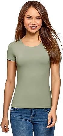 oodji Ultra Mujer Camiseta Básica con Cuello Redondo: Amazon.es ...