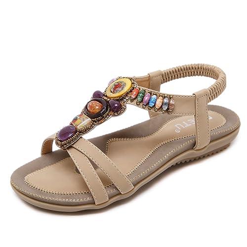 Avec Chaussures Femmes D'été Femme En Pour Sandales Zoerea Pu Plates Bohémien Cuir Lanières Bracelet Élastique Plage Strass XTOkZiPu