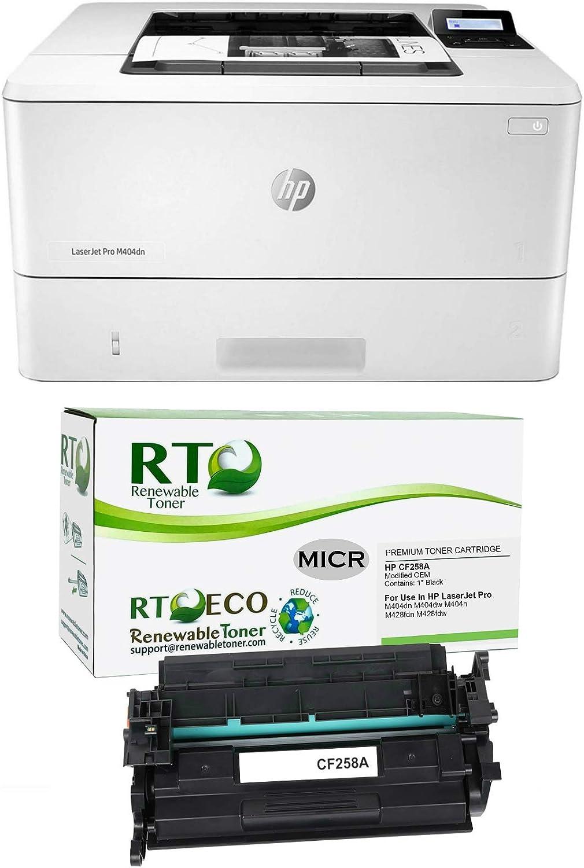 Renewable Toner Laserjet Pro M404dn MICR Printer Bundle with 1 HP CF258A MICR Cartridge for Check Printing