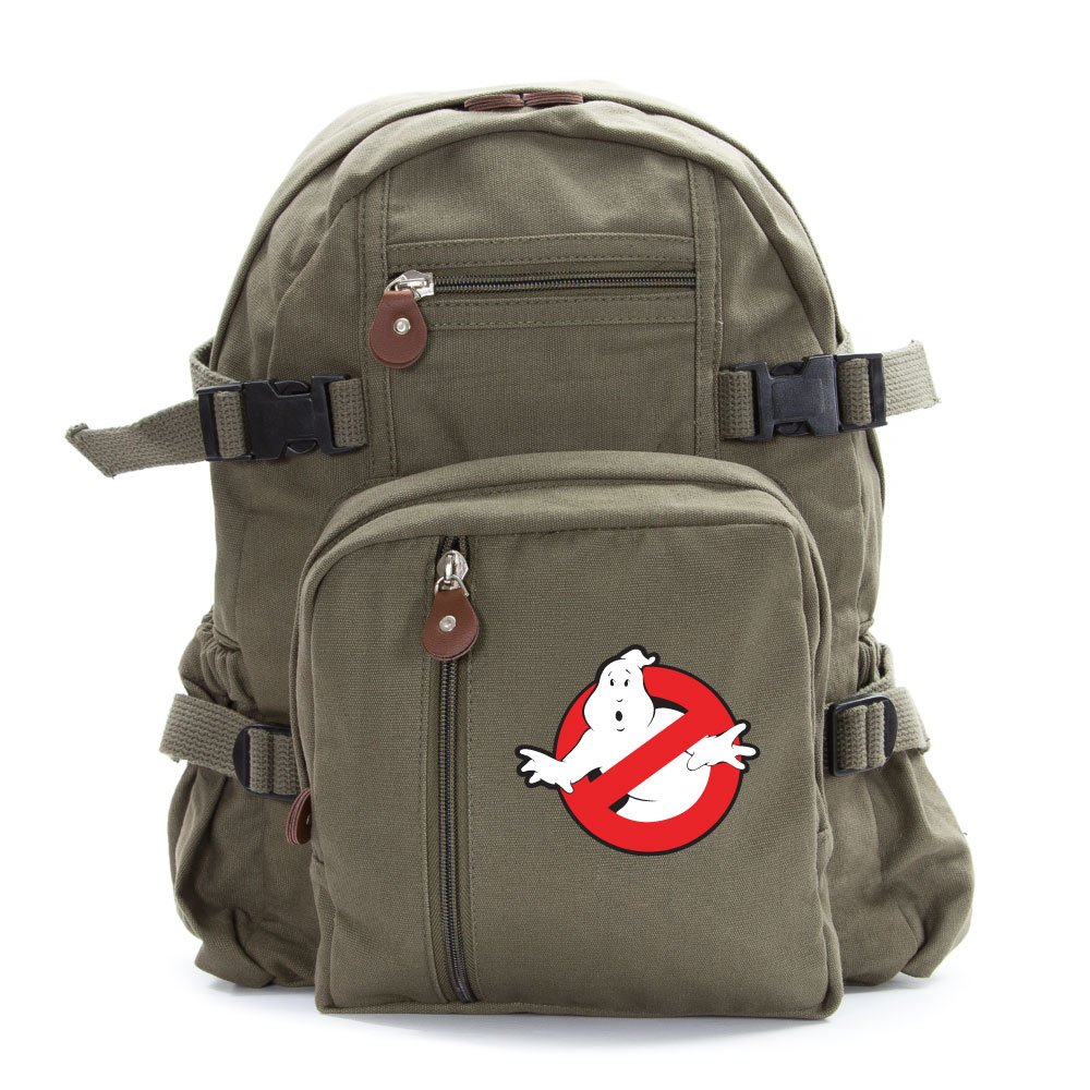 Ghostbusters Logo Army Sport Heavyweight Canvas Backpack Bag in Olive, Small